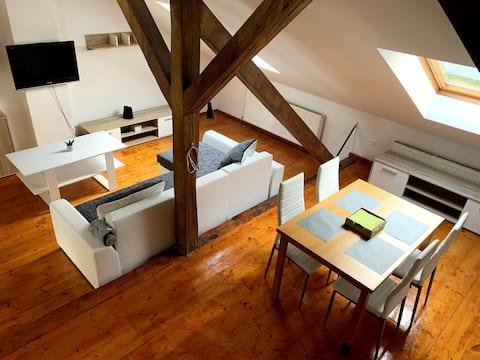 Hyggelig moderne studio med to etasjer på sentralt tak