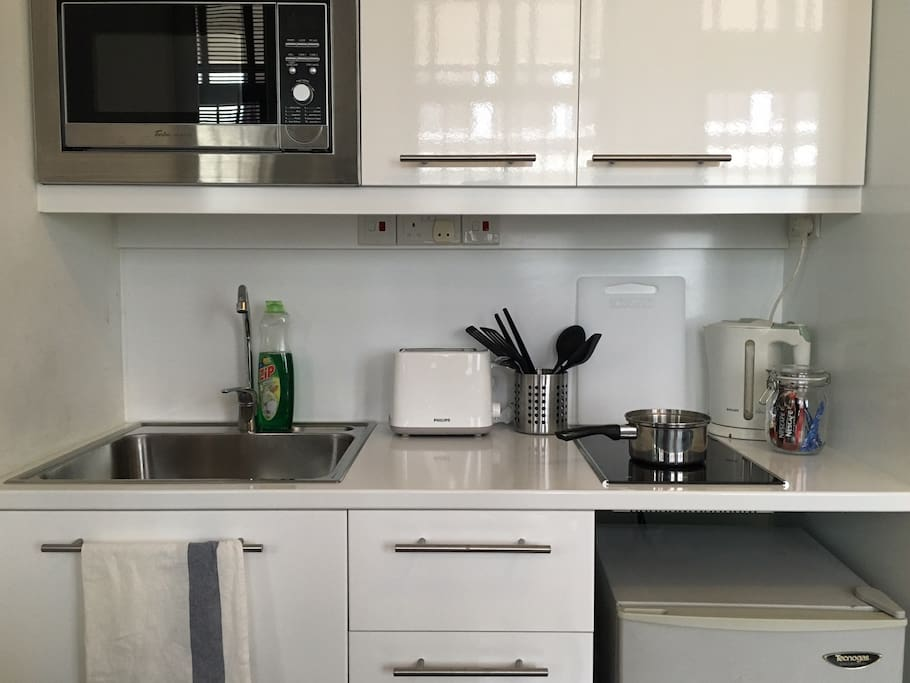 Sufficiently stocked kitchenette, with induction cooker stove top, microwave, kettle and toaster oven.