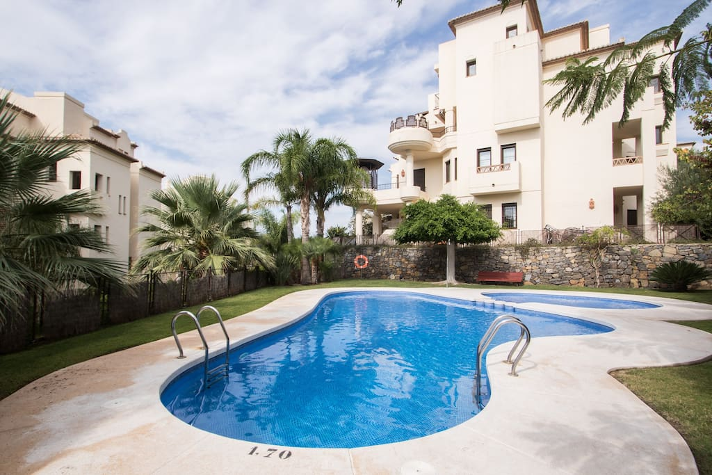 Take a plunge or just relax around the pool in the beautiful complex of Villa Gadea.