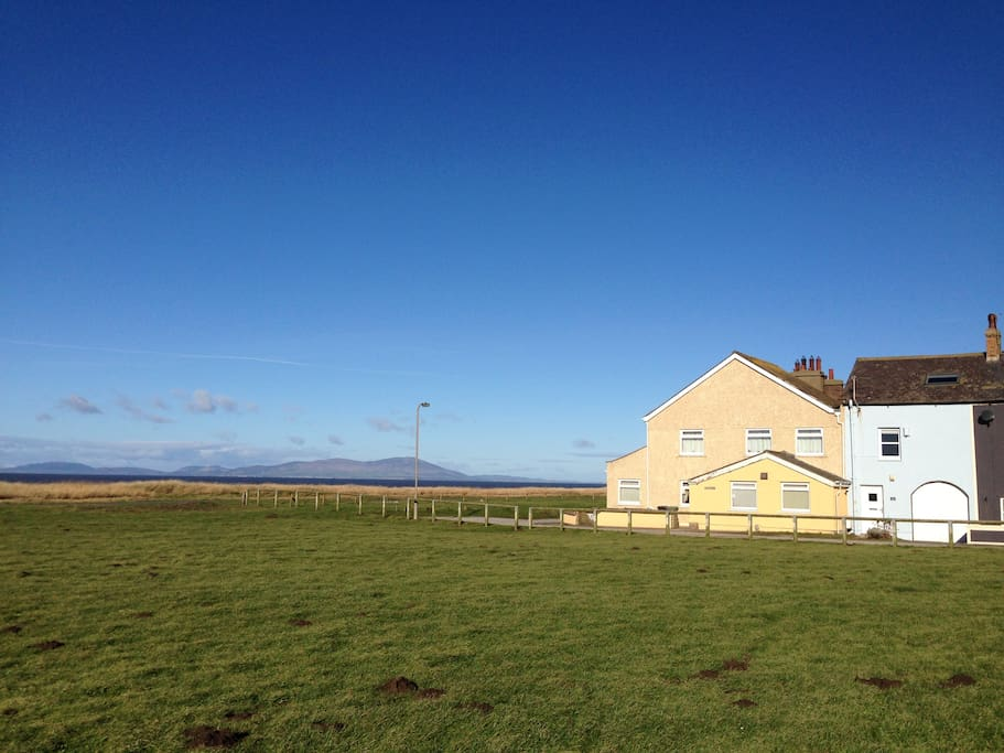Aloft is only a few steps from the beach and its wonderful view of the Scottish hills over the Solway