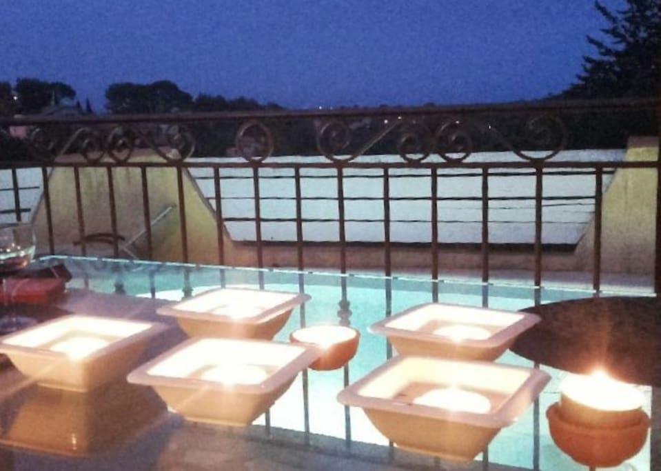 terrasse, piscine, vue mer