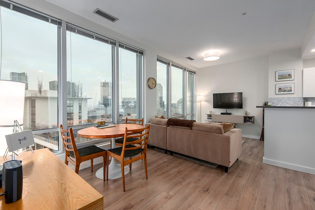 Enjoy views of Downtown Vancouver from the comfort of your couch!