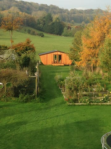 our 'shed' (your chalet) at the end of the garden - which will give you some idea of how far away from everything you are :)