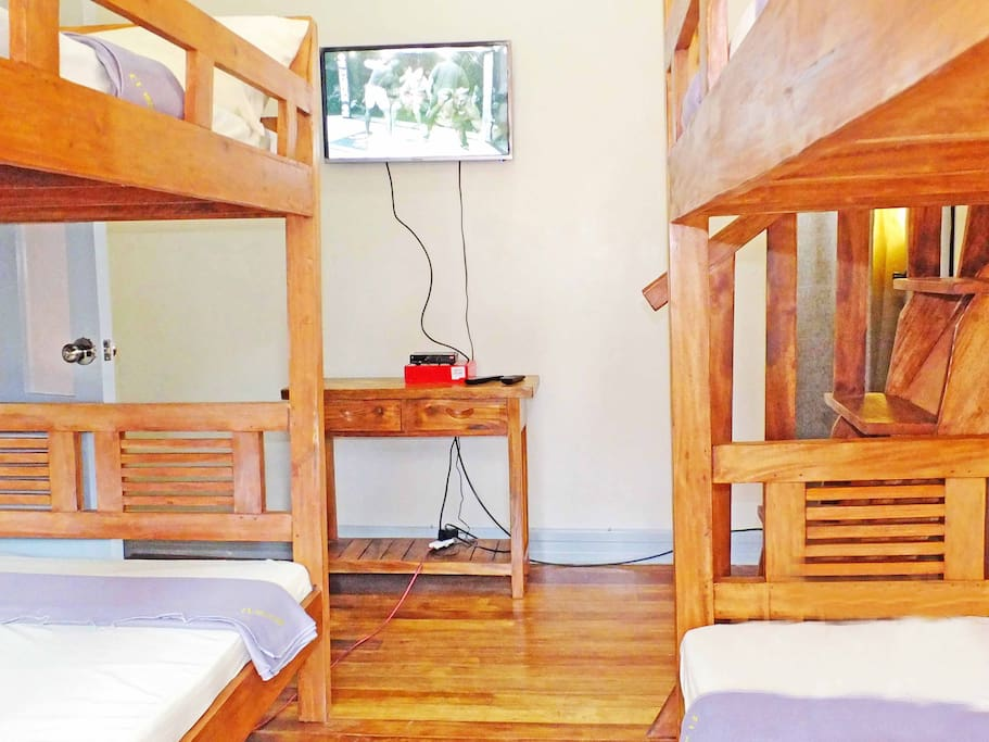 Suite with 2 Double-Size Bunk Beds for 8 persons, 2 on each deck with flat panel cable TV.