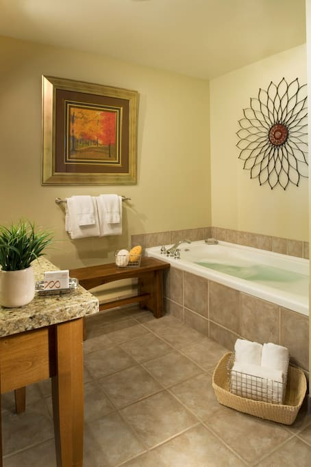 Relax in the luxurious jetted tub