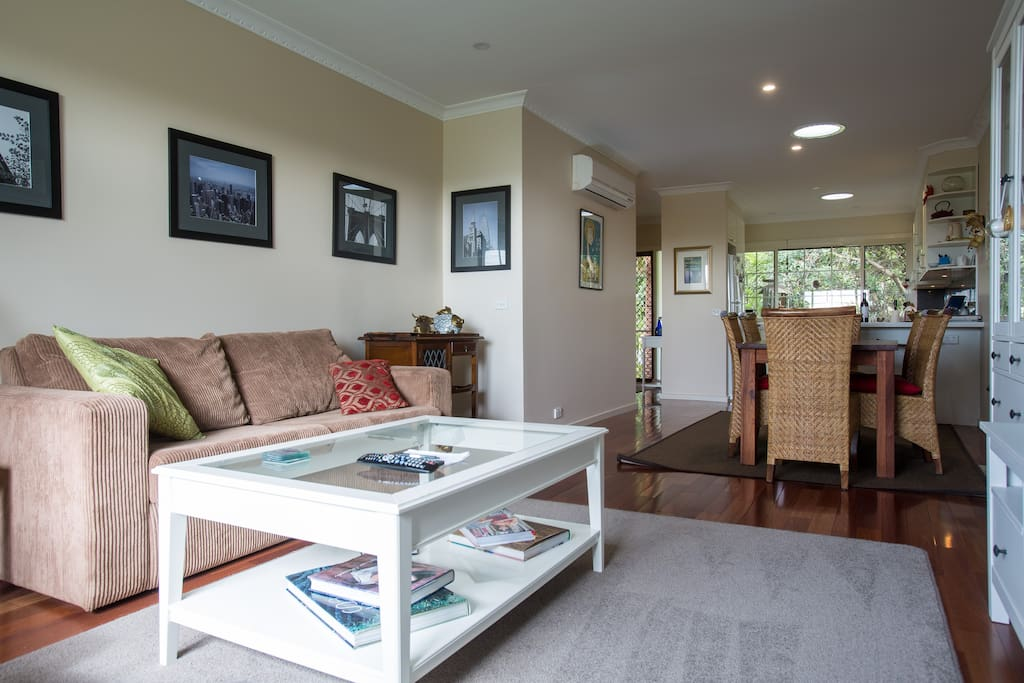 Living area - comfy couch, lovely books and magazines to relax with.