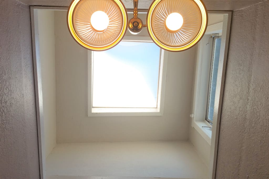 Beautiful skylight in your room above you!