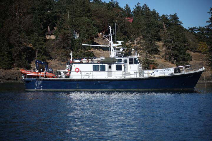 Zephyr at Anchor at Stuart Island in the San Juan's.  Zephyr is a working research vessel that offers recreational charters in the summer when available.
