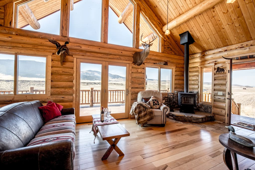 Living room offers views and a wood burning stove.