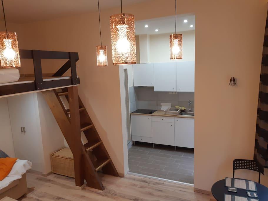 Brand new Room + kitchen + decorative lighting