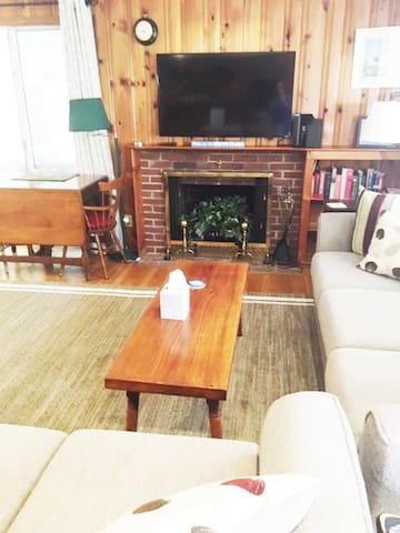 Comfortable living room with large flat screen TV offering Roku, Netflix, and Hulu