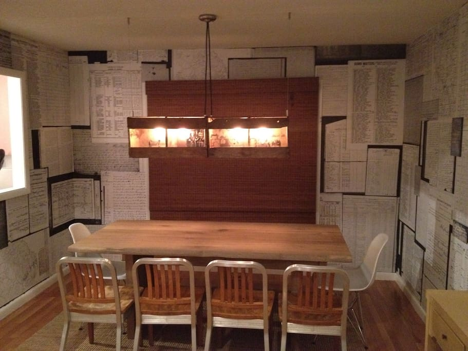 Dine in eclectic style - reclaimed cranberry crates from southern New Jersey made into a light fixture.