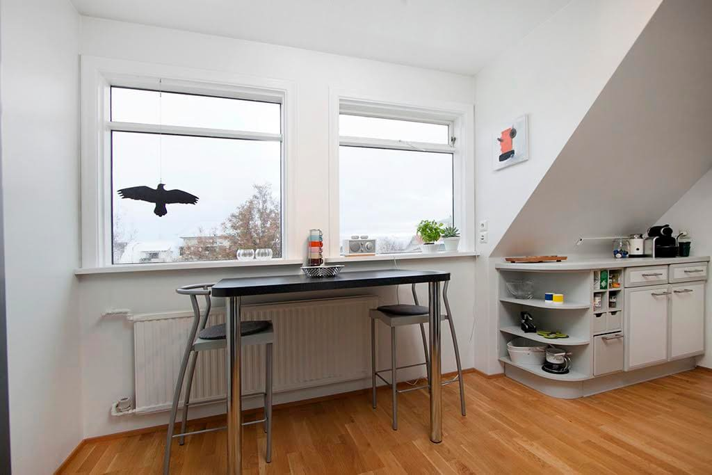Kitchen is fully equipped and comes with a nice view over Mt. Esja