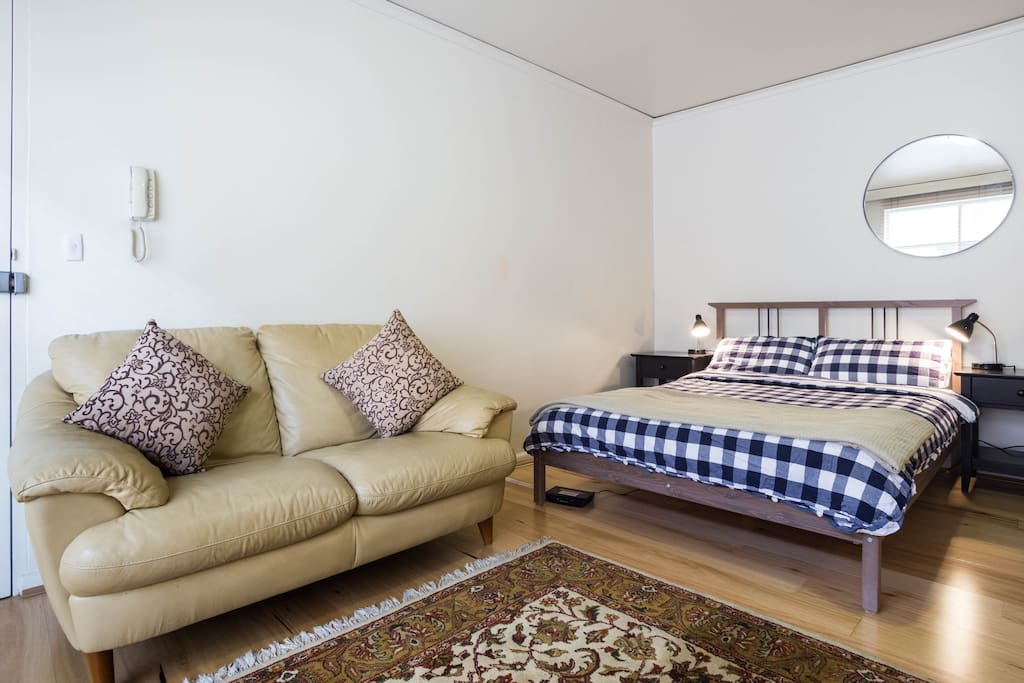 Double bed and 2 seater couch
