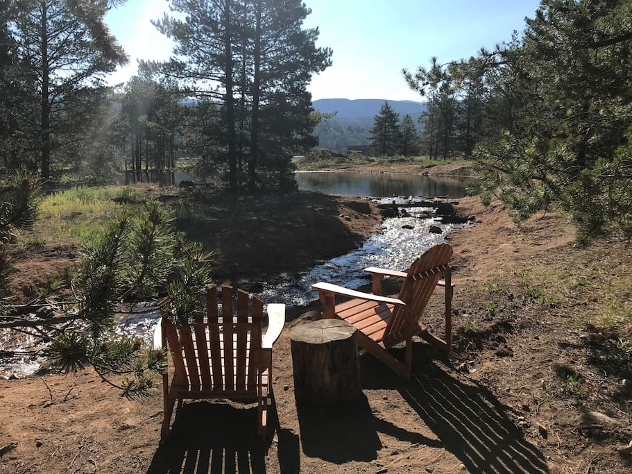 Relax out back with your favorite beverage, and enjoy the sounds of nature!  Kids can let their imagination run wild, playing and building  in the stream.