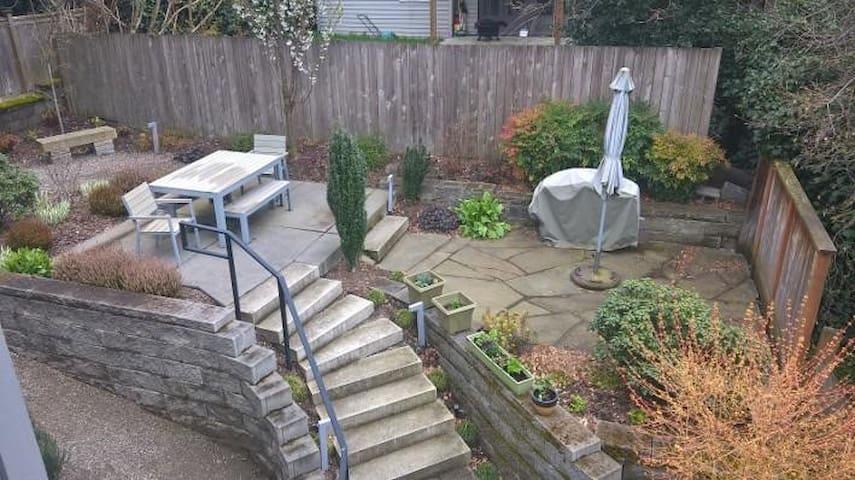 Garden and patio area.