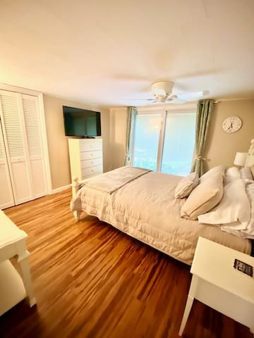 Master bedroom with large screen television with ceiling fan and sliders to the back deck.