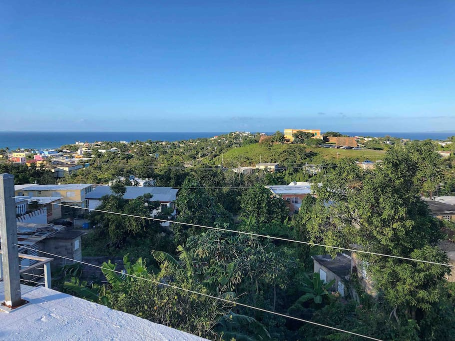 View of the fort, the Big Island and Culebra from our roof terrace.