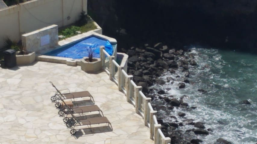 View of hot tub from balcony