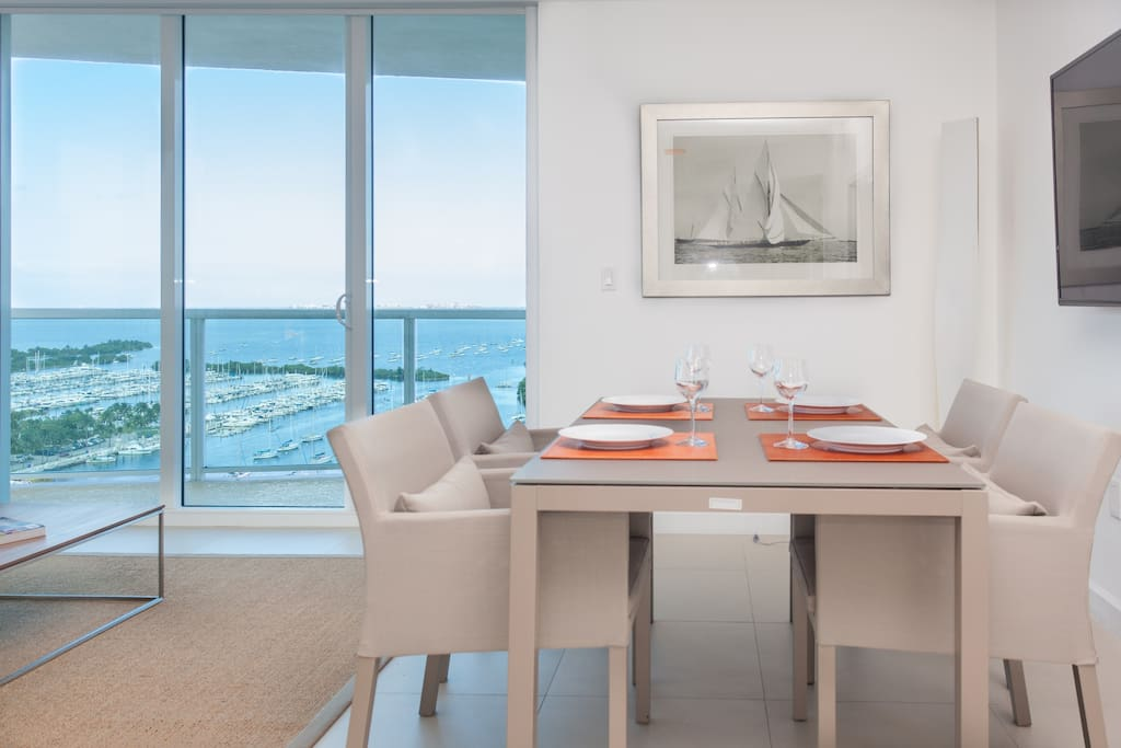 From almost any angle you can see the Biscayne bay and the Dinner islands.