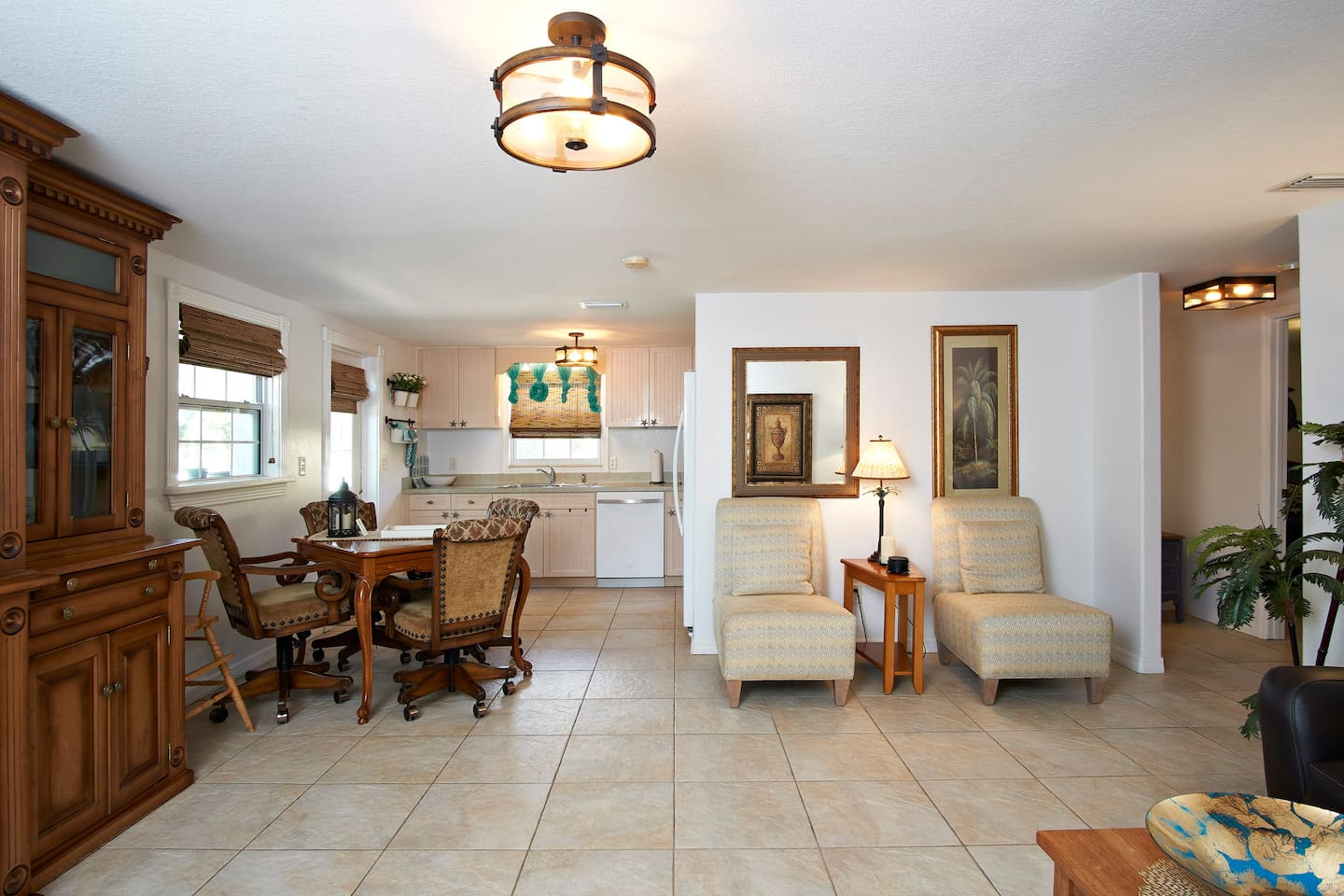 Fully equipped kitchen for modest meals. Dining table doubles as a game table.