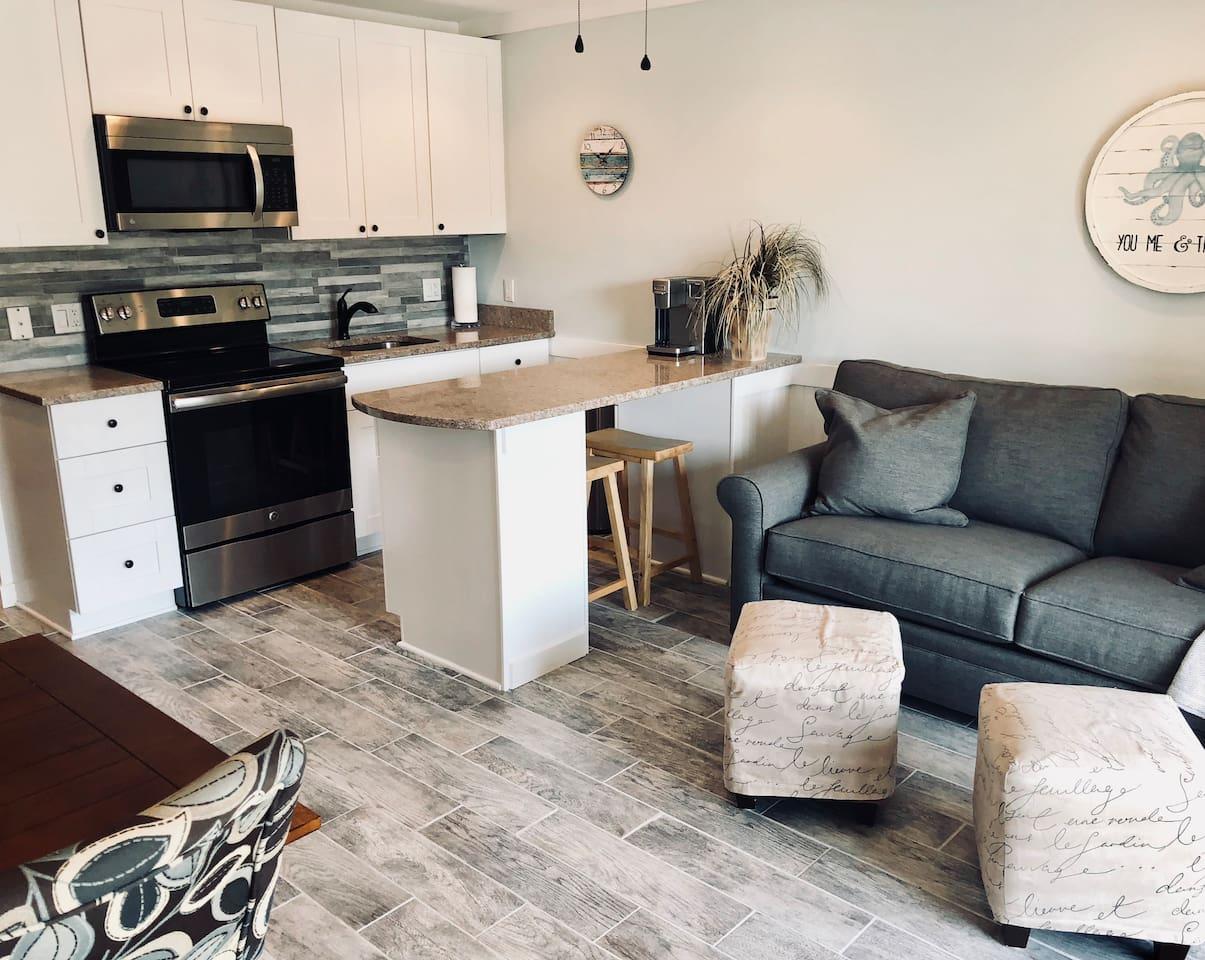 Open living room/kitchen area.