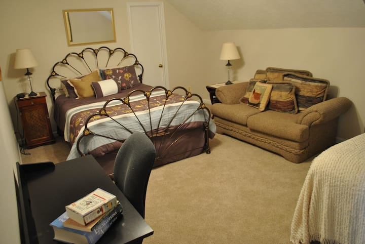 Roomy with queen & full beds, hosts on premises