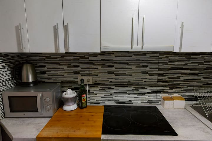 Shared kitchen with induction, oven and microwave