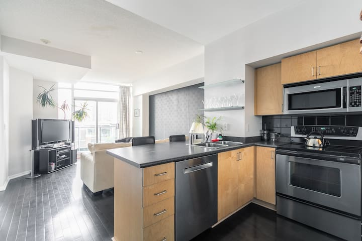 Modern 1 Bedroom Downtown Condo w free parking