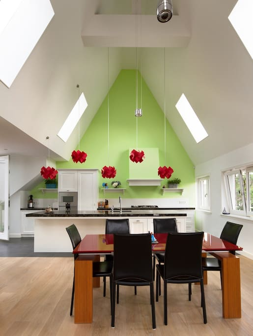 Kitchen with cathedral ceiling