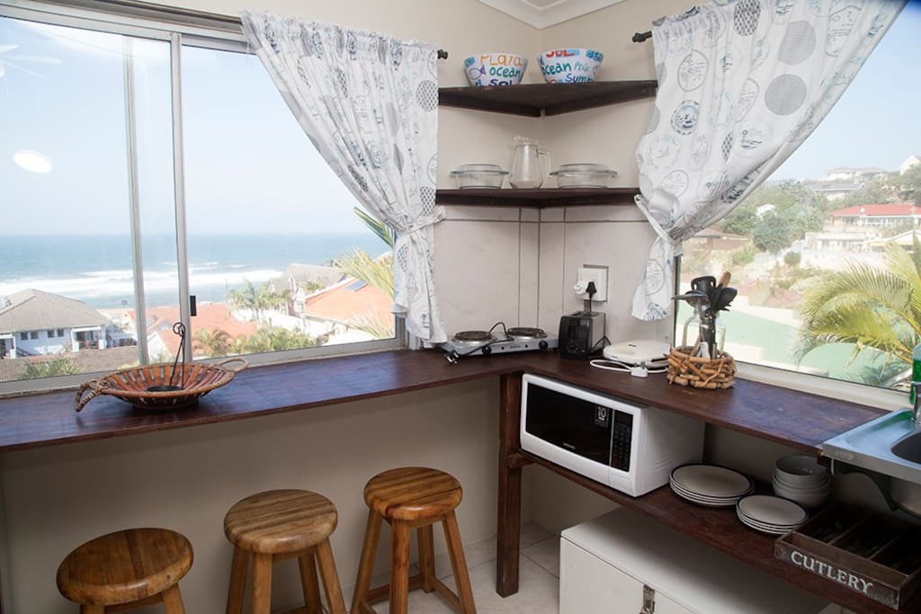 Kitchen area with fabulous sea and beach views
