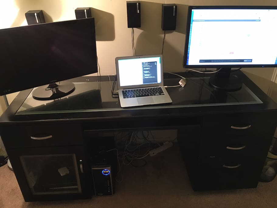 Frontal View of Desk and Speaker Setup