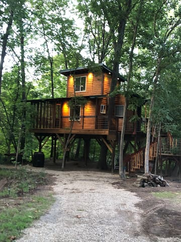 Graham's Treehouse is tucked away with trees on 3 sides for peaceful setting.