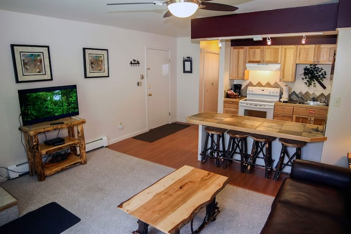 Beautiful King bed Condo, Full Kitchen, Deck Overlooking the Fall River