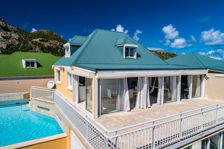 Villa with 2 bedrooms in Saint-Barthélemy, with wonderful sea view, private pool, terrace - 500 m from the beach