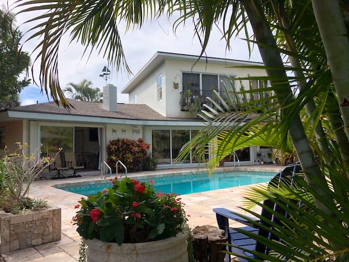 Pool deck en-suite room on Siesta Key canal