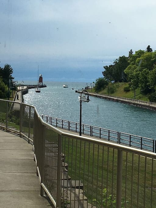 Pine River Channel to Lake Michigan Lighthouse and beach