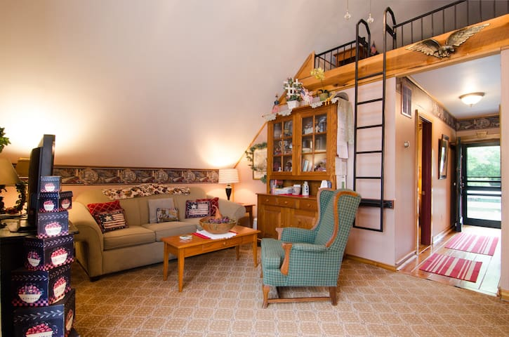 Living Room Area, and Sleeper Loft Ladder