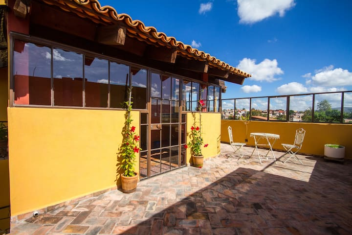 3 casitas/apartments with court yard and terrases.