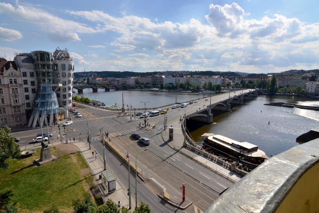 View of the Dancing House and Vltava river
