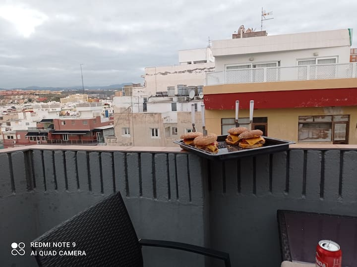 Single room with terrace city-view and barbacue
