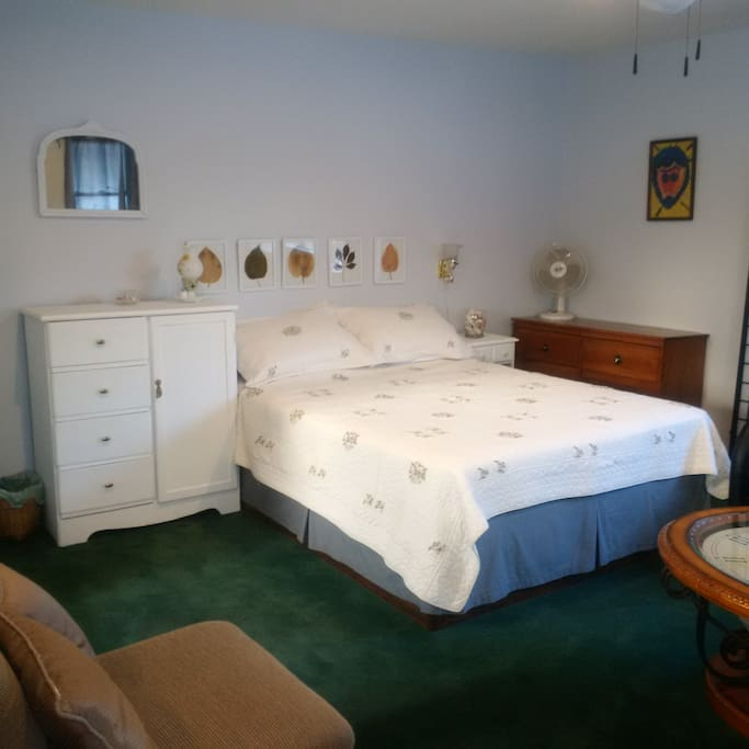 Queen bed with all linens.