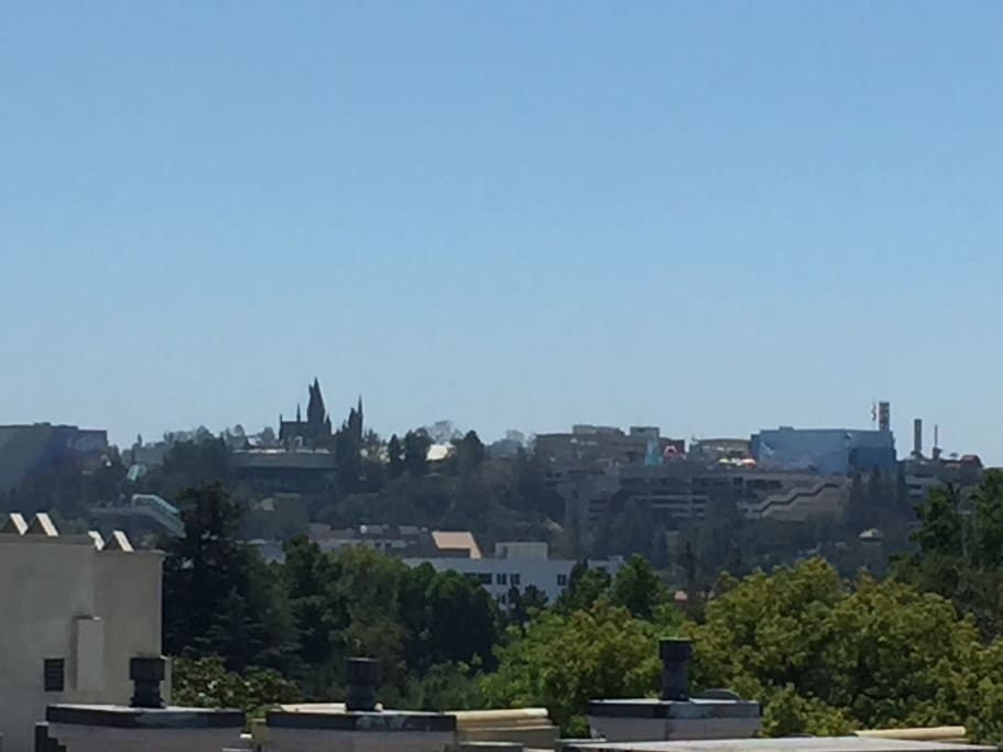 View of Universal Studios from my roof.  The pointed towers are Harry Potter.