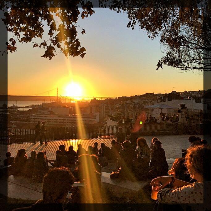 Miradouro Santa Catarina (Adamastor) 4 minutes walk. Perfect sunset drink!!