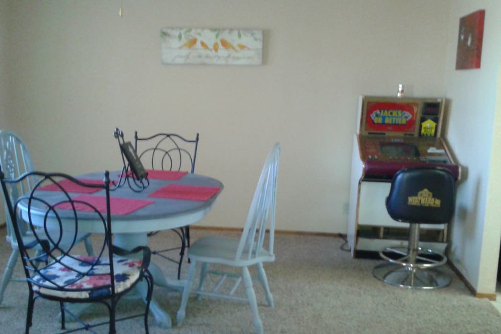 Formal dining room with slot machine