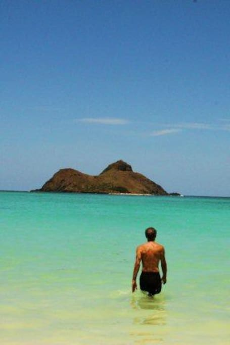 View from Lanikai Beach of one of the Mokulua Islets--3/4' of mile from shore.