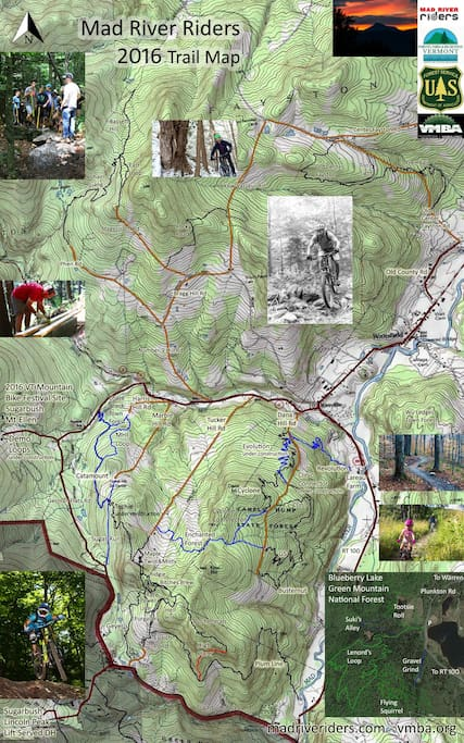 The 2016 MTB trail map of the mad river valley!