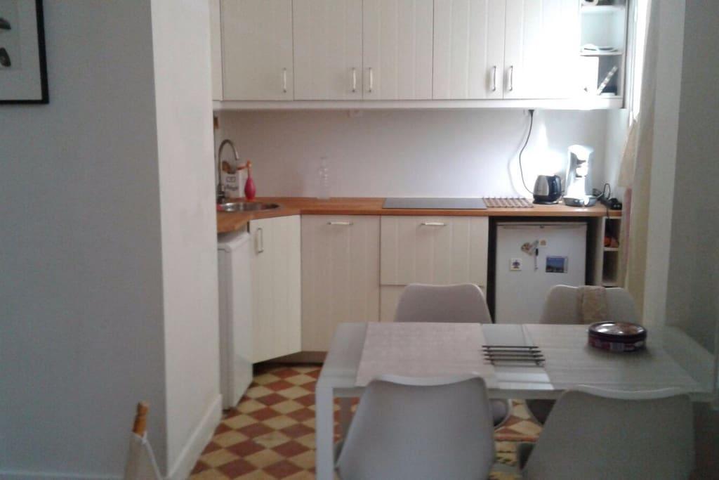Cuisine équipée avec lave vaisselle et plaques à induction et un minifour sous la fenêtre