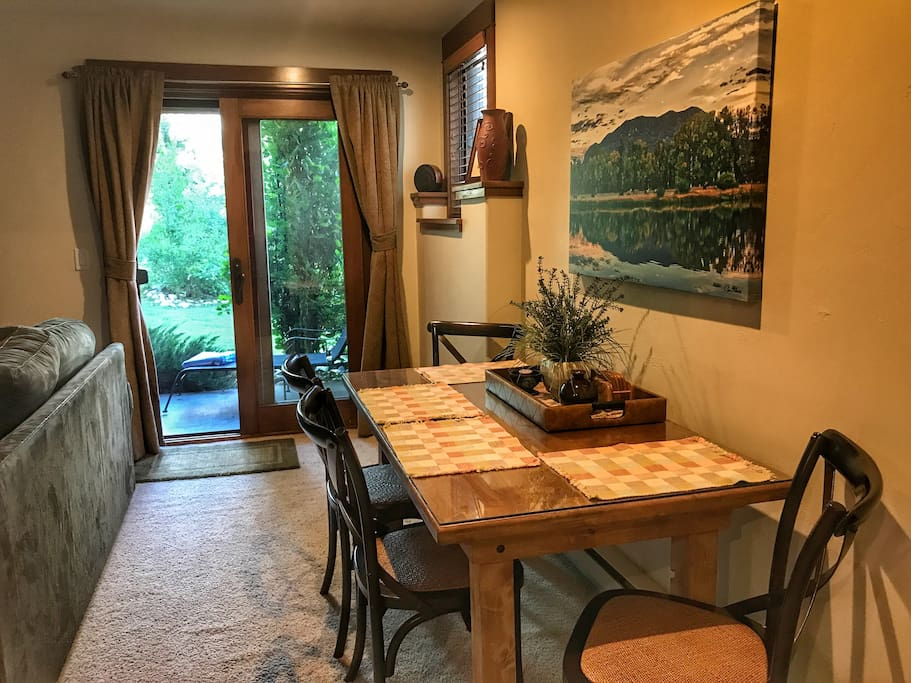 Dining area out to private patio