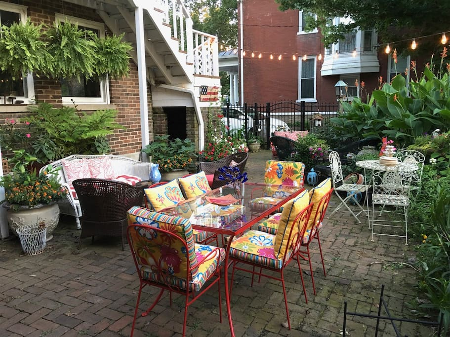 The garden patio offers a tranquil, beautiful place to relax and enjoy your stay.